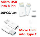 10PCS x MICRO USB  Android Data Cable into Apple & Type C Converter Adapter