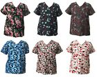 Life Line Women's Fashion Nursing Scrub Tops Printed Medical Uniforms S-XL