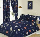 SPACE BLAST OFF MOON DUVET COVER SET CHOICE SINGLE DOUBLE KING SIZE OR CURTAINS