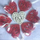 Handmade Wooden Valentines Day Love Heart Bunting   Red 6ft Ribbon or Twine