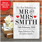 PERSONALISED Valentines Day Gifts Mr and Mrs Wooden Block Keepsake Presents Love
