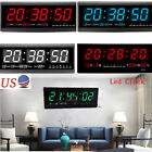 4Colors Digital Large Jumbo LED Wall Clock With Calendar Temperature Humidity US
