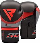 RDX Boxing Gloves Leather Training Sparring Muay Thai Fight Kick Red 16oz