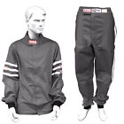 RJS RACING 2 PIECE FIRE SUIT SFI 3-2A/1 SAFETY JACKET & PANTS GRAY ADULT
