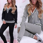 UK 8-22 Women's 2PCS Tracksuit Hoodies V Neck Sweatshirt Pants Sportwear Suits