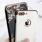 Shockproof Flower Ultra Thin Plating Soft TPU Case Cover for iPhone 7 Plus 8 X