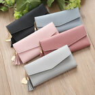 Women Faux Leather Long Wallet Card Slot Tassel Heart Purse Clutch US Flowery