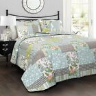 Blue Green White Farmhouse Country Shabby Floral Birds Garden Cotton Quilt Set
