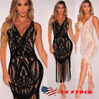 US Women Sexy Lace Dress Prom Evening Party Cocktail Tassel Bodycon Beach Dress