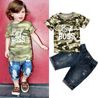 Toddler Kid Baby Boy Clothes Camouflage Tops T shirt Tee Denim Pants Outfits Set