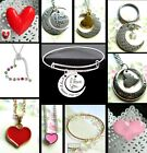 I LOVE YOU TO THE MOON AND BACK HEART NECKLACE PENDANT OR KEYRING OR BRACELET
