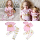 Big Little Sister Matching Romper Top + Long Pants Clothes Outfits For Baby Girl