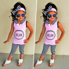 Toddler Kids Baby Girl Hoodie Top T-shirt Pants Stripe Legging Outfit Clothes US