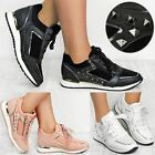 Womens Black Stud Trainers Rock Sneakers Casual Wear Gym Sport Ladies Shoes New