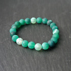 8mm Natural Frosted Green Agate Healing Chakra Yoga Strech Bracelet gift idea
