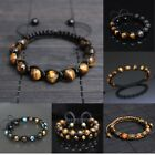 Tiger's Eye Stone Adjustable Shamballa Boho Bracelet Healing Men Women Unisex