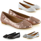 Womens Slip On Shoes Sequins Flower Girl Ladies Flat Bridal Party Pumps Size 3-9