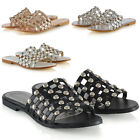 Womens Studded Flat Slider Cage Ladies Summer Holiday Slip On Sandals Shoes 3-8