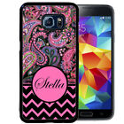 PERSONALIZED RUBBER CASE FOR SAMSUNG NOTE 8 5 4 3 BLACK PINK CHEVRON PAISLEY