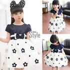 New Kids Girl's O-Neck Short Sleeve Floral Bow Tie Belt Patchwork Puff T