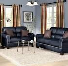 2 Piece Latest Black Faux leather Sofa & Love Seat Living Room Set Free Shipping