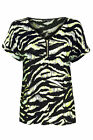 Ladies Ex-M&S Cap Sleeve Front Zip Tiger Print T-Shirt - SALE Now Only £3.99