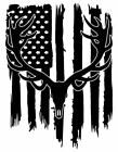 Distressed American Flag Bull Elk Skull Hunter Antler Decal Sticker #2