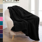 "PAVILIA Plush Fuzzy Sherpa Throw Blanket for Couch Sofa Chair 50""x60"" Microfiber image"