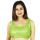 Designer Stitched Blouse Green Dense Sequins Ready- Made Wedding Wear Crop- Top