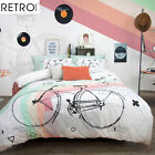 3 Pce Retro Home Mister Bicycle Vintage Duvet Quilt Doona Cover Set - QUEEN KING