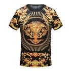 NEW Popular Men's Gold Flowers Pattern Round Neck Short Sleeve T-shirt 2Styles