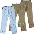 New Polo Ralph Lauren Crest Embroidered Chino Pants Slim 33 34