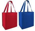 Reusable Eco Grocery Tote Shopping Bag Red Blue Strong Bottom Side Support Folds