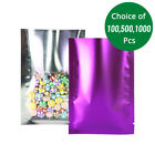 3x4.75in Shiny Clear Front Matte Purple Back Foil Mylar Open Top Pouch Bag P04