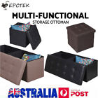 Storage Ottoman PU Leather Linen Fabric Blanket Chest Foot Stool Dressing Bench