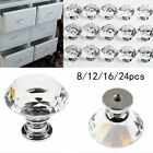 8 16 32 x Clear Crystal Glass Door Knobs Cupboard Drawer Cabinet Kitchen Handles