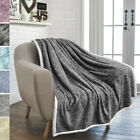 Premium Melange Plush Sherpa Throw Blanket Microfiber Polyester Soft Reversible  image