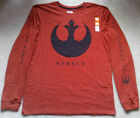 "NEW MENS ""STAR WARS REBELS LONG SLEEVE T SHIRT"" Movie Logo Orange Distressed Tee"