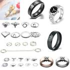 Men /Women Rhinestone Stone Hollow Out Round Ring Midi Rings TXST