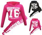 Girls White Print Hooded BROOKLYN 76 Set Suit Clothes Outfit Age 7-13 Year