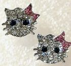 Hello Kitty Style Cat Necklace Earrings Set PinkBow Crystal Silver Chain Jewelry