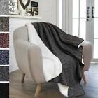 "Reversible Sherpa Microplush Melange Knit Throw Blanket 50""x 60"" Assorted Colors image"