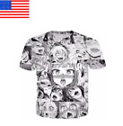 tee 3d -  Funny Womens/Mens Ahegao Anime 3D Print Casual T-Shirt Short Sleeve Tops Tee