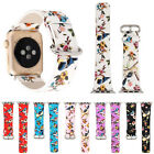 Rural Flowers Birds Leather Strap Wrist Band for Apple Watch iWatch Series 3 2 1