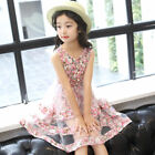 NEW Girls Skater Dress Kids Summer Floral Print  Party Dresses Age 3-12Years
