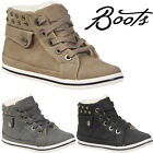 KIDS BOYS GIRLS FAUX FUR WINTER WARM LACE UP ANKLE BOOTS TRAINERS SHOES SIZE NEW