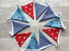Double-sided Cotton Bunting Handmade Seaside Beach Boats Anchor Sea Blue Red