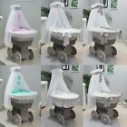 GREY WICKER MOSES BASKET + CHASSIS + BIG WHEELS + BEDDING + DRAPE 6 COLOURS