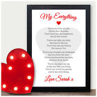 Personalised Wedding Anniversary Valentines Poem Gifts for Husband Wife Him Her