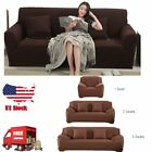 BROWN JERSEY SOFA STRETCH SLIPCOVER COUCH COVER CHAIR LOVESEAT SOFA RECLINER W